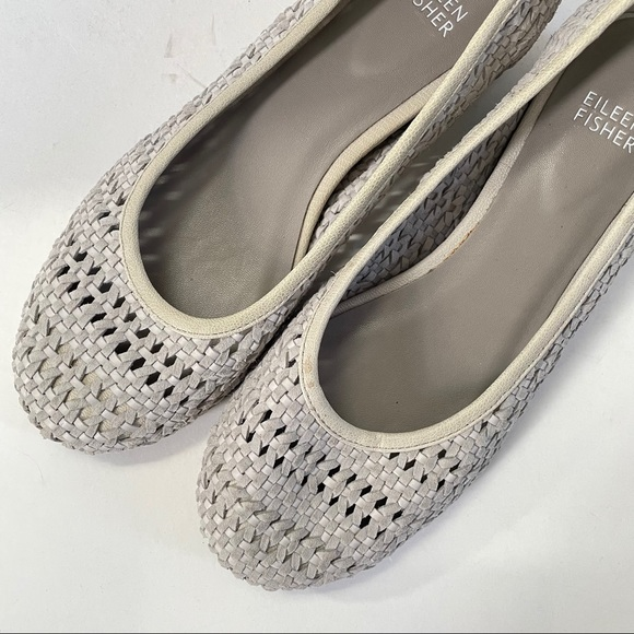 Eileen Fisher woven grey suede wedge flats Size 8